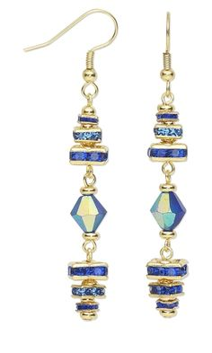 Earrings with Gold-Pated and Rhinestone Beads and Celestial Crystal® Beads