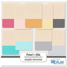Free 4x6 Chevron Journal Card Sets from September Blue. Made to Match the Project Life Clementine and Colbalt Editions.{email address required}