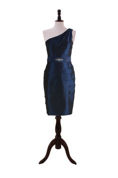 One Shoulder Taffeta Dress with Pleated Pencil Skirt
