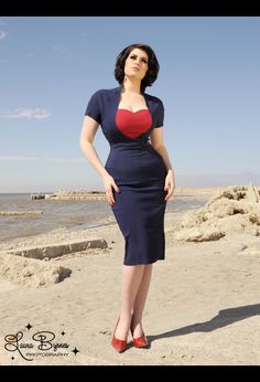 Veronica Dress in Navy with Red Ponte Heart and Button by Pinup Couture