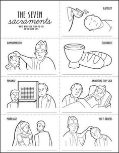 The Seven Sacraments of the Catholic Church - Ordinary Time - Religion Seven Sacraments, Catholic Sacraments, Catholic Catechism, Catholic Religious Education, Catholic Baptism, Catholic Kids, Catholic Prayers, Catholic School, Catholic Crafts