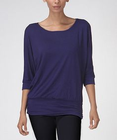 Love this LARA Fashion Navy Ruched Dolman Top by LARA Fashion on #zulily! #zulilyfinds