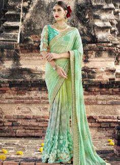 Parrot Green Embroidery Work Fancy Fabric Designer Wedding Half N Half Sarees http://www.angelnx.com/Sarees/Wedding-Sarees