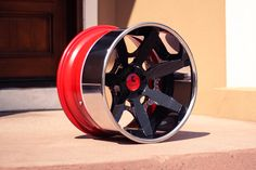 Luxury Abstract Mador  Aggressive Concave  Black/Red with Chrome lip, Red Inner Barrel