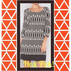 GREAT ALL WEATHER DRESS - IN B & W ONLY!!  BLACK & WHITE ONLY‼️ Abstract tunic dress with round collar and flattering v-back with black exposed zipper. Lined, it is made of 100% polyester and may be hand washed and layed flat to dry.  Runs small; suggest buying 1 size larger. ❤️❤️AVAILABLE IN - BLACK & WHITE ONLY‼️PRICE REDUCED‼️ HELLO MISS Dresses