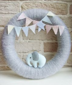 BABY WREATH Room Nursery Wreath Decor Elephant by sistersdreams - change it up to be a fawn :) Baby Boy Wreath, Baby Wreaths, Baby Kranz, Baby Door, Baby Bunting, Baby Shower, Wreath Crafts, Baby Boy Rooms, Baby Crafts