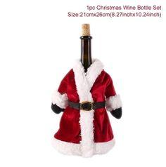 Xmas santa claus non-woven coat hat wine bag bottle cover topper xams gifts SU