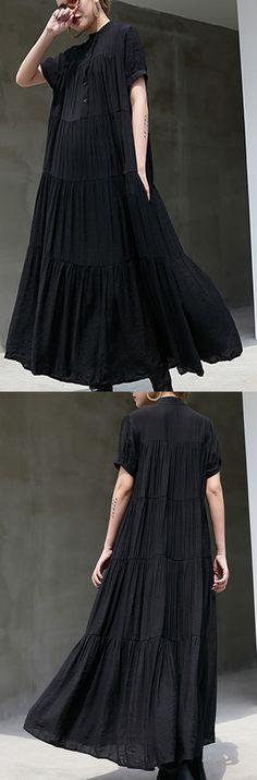 black-long-cotton-dress-patchwork-caftans-short-sleeve-cotton-caftans