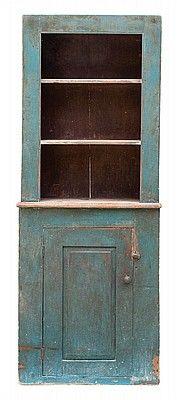 Lot C. Stepback Cupboard - Willis Henry Auctions, Inc. Primitive Cabinets, Old Cabinets, Primitive Furniture, Primitive Antiques, Antique Furniture, Painted Furniture, Blue Furniture, Antique Cabinets, Distressed Furniture