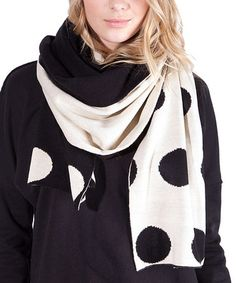 This Black & Cream Polka Dot Reversible Scarf by Plush is perfect! #zulilyfinds