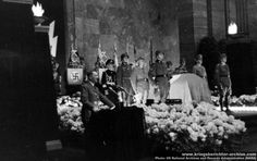 Adolf Hitler delivers a eulogy during the state funeral of Reinhard Heydrich at the new Reich Chancellery, Berlin, on 9 June, 1942. Heydrich was one of the main architects of the Holocaust; he was assassinated by Czech patriots on May 27, 1942.