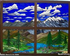 stained glass mountain scenes | Mountain scene for Conifer High School class gift
