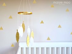 White and Gold Feather Mobile -  Modern Dream Catcher Mobile - Felt and Faux Leather Mobile