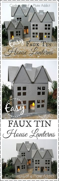 Here's how Confessions of a Plate Addict created her own version of a Faux Tin House Lantern for under $5.00 each! It's so easy that she is almost embarrassed to even call this a tutorial! http://www.rustoleum.com/product-catalog/consumer-brands/stops-rust/hammered-spray/