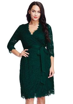 Plus Size Fashion // You will absolutely fall in love with these dainty deep green lace crop sleeves wrap dress. It's styled with V neckline and features an overlay with partial lining.