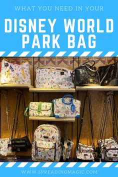 What will you need for a day at Disney World? What kinds of things should you pack for in your Disney World park bag for an enjoyable day? If you've never been to Disney World or maybe it's been a while, you may be unsure what you'd like to carry with you. We have some suggestions as to what we recommend that you pack in your Disney World park bag for a magical day in the parks. #Disney #DisneyWorld #ParkBag #DisneyVacation Disney World Deals, Disney World Facts, Disney World Planning, Disney Facts, Disney World Resorts, Walt Disney World, Disney World Tips And Tricks, Disney Tips, Disney Love