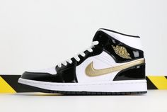 a333fa31250 2019 Air Jordan 1 Mid Black Gold Patent Leather 852542-007 For Sale