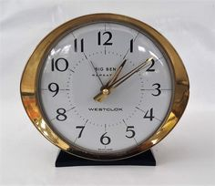 Vintage Big Ben repeater alarm clock, Westclox wind up alarm in working order. White face gold surround. by NanaBarbarastreasure on Etsy