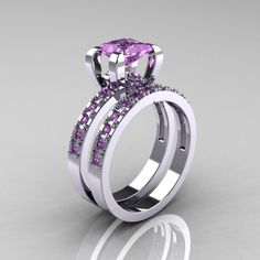 Classic French 14K White Gold 1.0 Carat Princess Lilac Amethyst Engagement and Weding Ring Bridal Set AR125S-14WGLAA. $1,878.00, via Etsy.