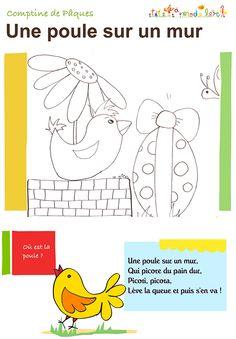 Texte comptine poule  de Paques - Retrouvez toutes les autres comptines de Pâques illustrées - http://www.teteamodeler.com/dossier/paques/comptine-paques.asp