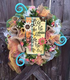 Easter Wreath, Spring Wreath, Spring Deco Mesh Wreath, Love The Life You Live on Etsy, $87.00
