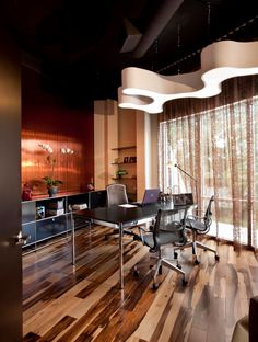 Urban Loft Style Office: USM Modular Furniture, USM Haller Table, Herman Miller, Custom Lighting, Phillip Jeffries Wallpaper