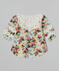 This Pink Floral Crocheted Lace Top - Toddler & Girls by Funkyberry is perfect! #zulilyfinds