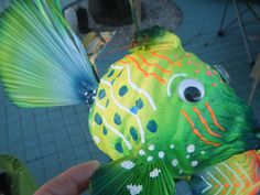 I named this coconut fish..Green Meanie, how fun!