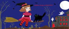 Halloween witch and black cat drawing