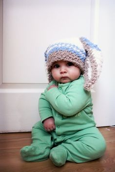 46142d9b1bb9 READY TO SHIP 3 to 6m Boy Rabbit Baby Hat