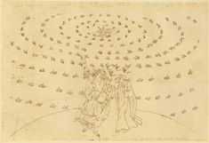 Eighth sphere (heaven of the fixed stars): St. John questions Dante on the third theological virtue--love. Dante regains his sight, stronger than before; The light of Adam appears.    Creator: Botticelli, Sandro    Date: c.1480-c.1495    Medium: drawing