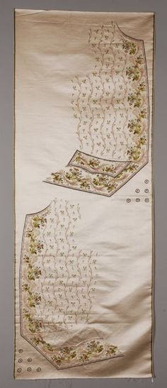 Unfinished vest/waistcoat embroidery on silk. Look at the little buttons! So cool! 18th century.