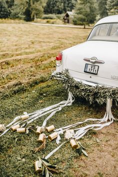 We Can't Get Over the Enchanting Glamour of This Latvian Greenhouse Wedding at Siltumnica Vintage getaway car decorated with greenery + gold cans and white ribbon Wedding Car Decorations, Quinceanera Decorations, On Your Wedding Day, Wedding Blog, Wedding Ideas, Wedding Getaway Car, Car Wedding, Wedding Car Ribbon, Wedding White