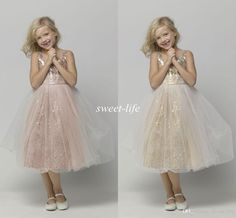 Hot Sale Tea Length Flower Girl Dresses for Wedding Rose Gold Bling Sequins 2015 Cheap A-Line Tulle Children Birthday Girls Pageant Dresses Online with $70.5/Piece on Sweet-life's Store | DHgate.com