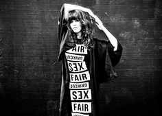 Extraordinary singer, songwriter, artist Sibille Attar in dress made with Fair Fucking Sex t-shirts. Shot by Jasmine Storch. Help us fight human trafficking and sextrade. Buy the t-shirt at www.fashionforfairsex.tictail.com