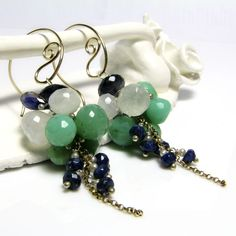 New hoop earrings that soon will be lissted in my shop ;) Very beautiful, elegant gold fill hoops and cascades of ice whites, mint greens, and deep ocean blues...