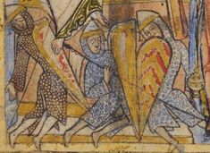 Manuscript: BL Cotton MS Nero C IV St. Swithun Psalter (Winchester Psalter) Folio: Dating: 1150 From: Winchester, England Holding Institution: British Library Norman Knight, Eslava, Medieval Shields, High Middle Ages, Medieval Knight, Romanesque, 12th Century, History Books, Warfare