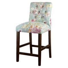 "Threshold™ 24"" Brookline Tufted Counter Stool, blue floral. Target. $150 for 2! Free shipping."
