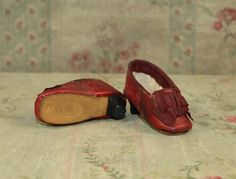 Rare and Beautiful Red Leather Slippers for French Fashion Doll
