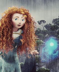 Princess Merida and the Wisp from Disney's Brave... This is by far the best Disney princess movie ever! Well I guess the little mermaid and tangled are also really good :)
