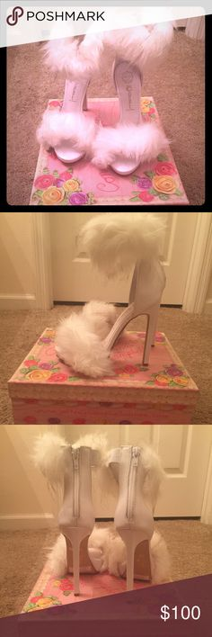 White Faux Fur Jeffery Campbell Heels Real Faux Fur NWT These Babies are hard to find SOLD OUT !!! EVERYWHERE!!! Size 6M Jeffrey Campbell Shoes Heels