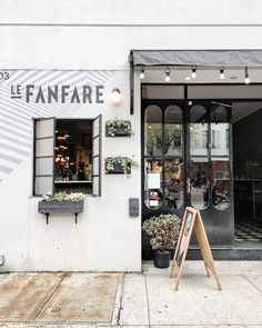 le fanfare - brooklyn Cafe Bar, Cafe Shop, Shop Interior Design, Retail Design, Store Design, Store Front Design, Facade Design, Exterior Design, Interior And Exterior