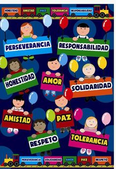 CARTEL DE VALORES Elementary Spanish, Spanish Classroom, Elementary Schools, Diy Classroom Decorations, School Murals, Classroom Bulletin Boards, Bilingual Education, Home Schooling, School Projects
