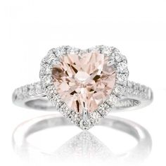 Heart 8x8 Morganite Engagement Ring Diamond Halo