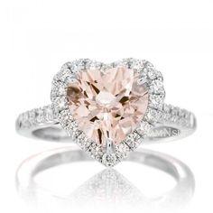 Heart 8x8 Morganite Engagement Ring Diamond Halo