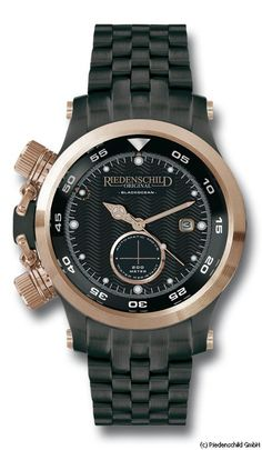 Reference:RS1133-02-S33 Black Ocean IP / Rose.                                        Movement:CM 8215 Automatic.                                     Diameter:45mm                                          Water Resistence: 200 Meters                           Description: Stainless steel 316L IP coate case / Rose, 316L Stainless steel IP coated bracelet, Sapphire crystal glass, Black dial. Available at www.chronowatchcompany.com