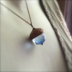 Glass Acorn Necklace  Water Blue  by by bullseyebeads on Etsy