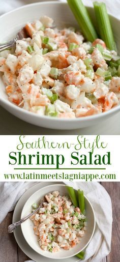"""Another Pinner wrote, """"Simple and so delicious, this Southern Shrimp Salad recipe is one I grew up eating right out of the bowl…and it's tasty on a toasted po-boy bun, too! Shrimp Salad Recipes, Seafood Salad, Shrimp Dishes, Fish Recipes, Seafood Recipes, Low Carb Recipes, Cooking Recipes, Healthy Recipes, Shrimp Salads"""