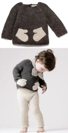 sweater with mitten pockets. You could add mitten-shaped pockets to any top or simple dress. Use felted sweaters for pockets. Knitting For Kids, Sewing For Kids, Baby Knitting, Pull Bebe, Baby Pullover, Baby Kind, Fashion Kids, Diy Clothes, Cute Kids