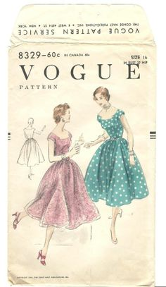 Vintage 50s Vogue Dress Pattern Party Full Sweep New Look B34 8329 1954 Easy